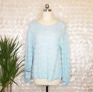 Ann Taylor Loft blue knit sweater NWT Sz L